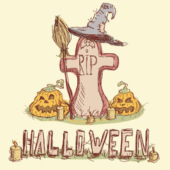 Vector illustration. Tombstone with pumpkins, witches hat and