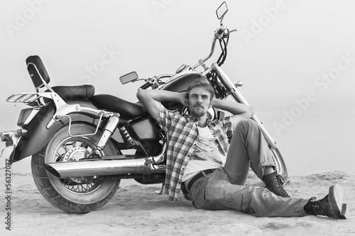 Wall mural man and motorcycle