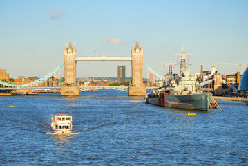 London Tower Bridge and river Thames in the evening light