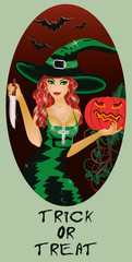 Trick or Treat Halloween card, Witch and knife, vector