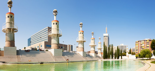 Panorama of Parc de l'Espanya Industrial in sunny day