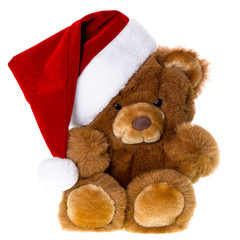 cute vintage teddy bear with santa hat