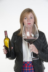Woman with a very large glass of red wine