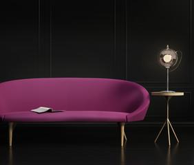 Contemporary dark elegant living room, with a purple grey sofa,