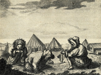 Itelmens making a fire (History of Kamtschatka, 1755)