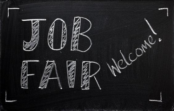 Job Fair welcome on a blackboard sign