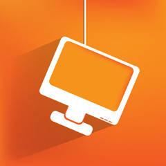 Monitor web icon, flat design