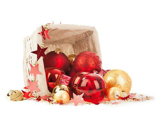Wall Mural - Christmas decoration isolated on white
