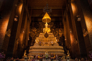Big buddha statue beautiful in the church Bangkok Thailand