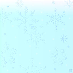 Transparent glass snowflakes on christmas shiny background