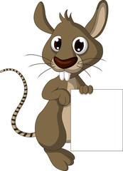 cute mouse cartoon posing with blank sign