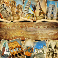 Fototapete - vintage collage cards with place for text - European travel