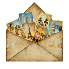 Fotomurales - vintage envelope with travel cards