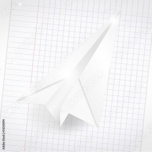 Avion Origami En Papier Sur Une Feuille Fichier Vectoriel Libre De
