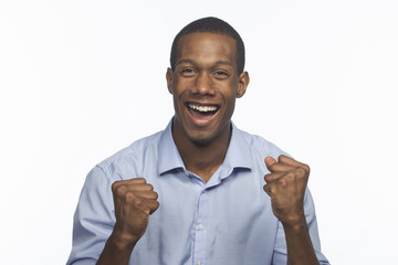 Young African-American man excited and cheering, horizontal