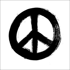Isolated hand drawn peace symbol brush style composition EPS10 f