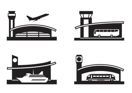 Stations of public transport - vector illustration