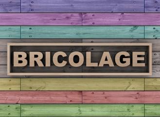 Bricolage on wooden background