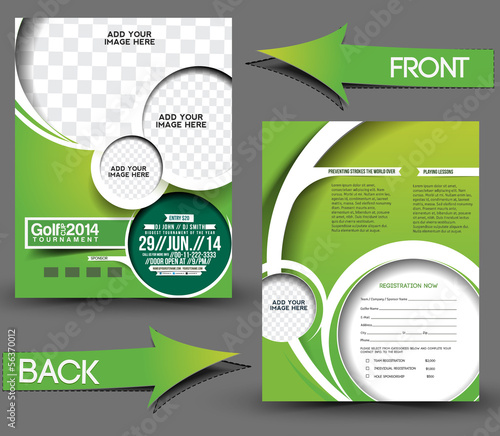 Golf Tournament Front Back Flyer Template Stock Image And Royalty