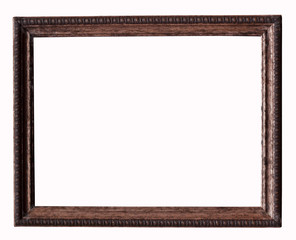 Wood picture frame on white background