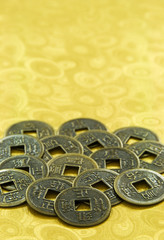 Chinese Lucky Coins on Gold Background, Chinese New Year