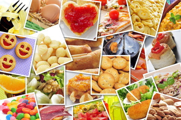 pictures of different food, shot by myself, simulating a wall of