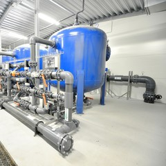 new plastic pipes and colorful equipment in industrial boiler ro
