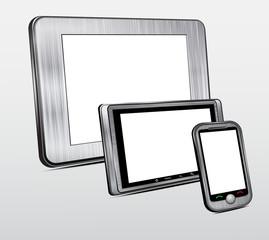 Set of mobile electronic technics. Metal case.