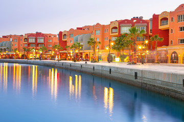 Printed roller blinds Egypt Beautiful architecture of Hurghada Marina at dusk in Egypt