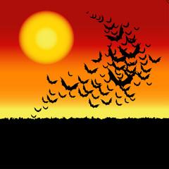 Halloween vector background with bats.
