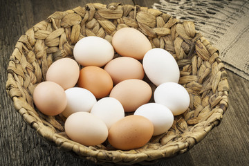 Eggs in basket on the boards