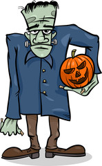 halloween frankenstein cartoon illustration