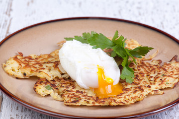 parsnip pancakes with pouched eggs