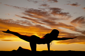 Printed kitchen splashbacks Panther silhouette woman stretch leg arm out