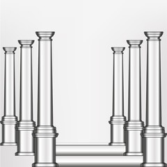 vector silver model of column in an abstract arrangement