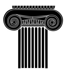 simple black silhouette of the old Greek column