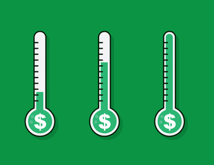 Isolated thermometers with money goal