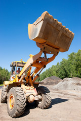 Wheel loader at construction site during road works