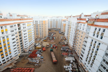 Multi-storey residential buildings under construction