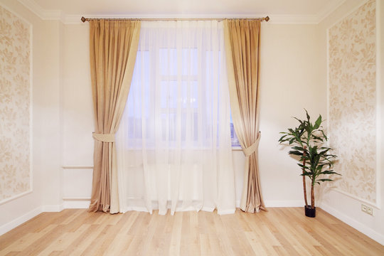 Window with beige curtains in simple room with plant on floor