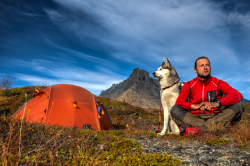 Camping with Siberian Husky