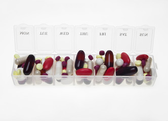 Pill box with variety of pills