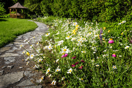 Wildflower garden and path to gazebo