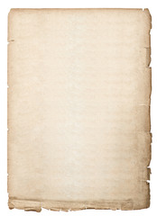 antique book page. old paper sheet isolated on white