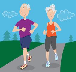 Senior citizen couple jogging together outdoors
