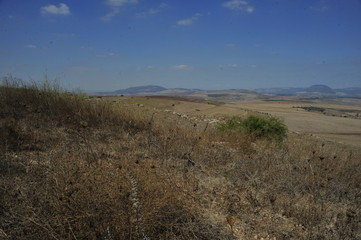 Panoramic view of Galilee mountains, Northen Israel