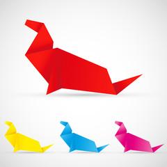 Canvas Prints Geometric animals Origami Seelöwe