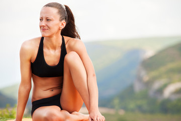 Slim beauty woman relaxing after training