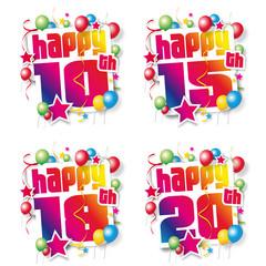 Happy Birthday - 10, 15, 18, 20