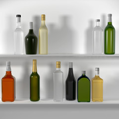 The bar shelves with bottles